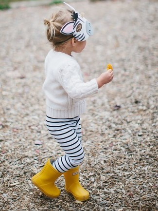 How to wear: white sweater, white and black horizontal striped leggings, yellow rain boots