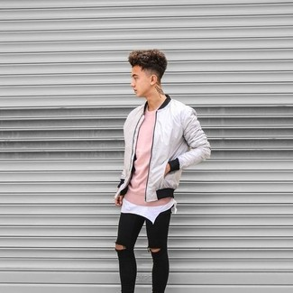 How to wear: black ripped skinny jeans, white tank, pink crew-neck sweater, grey bomber jacket