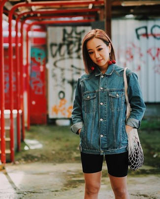 How to wear: red earrings, white canvas tote bag, black bike shorts, blue denim jacket