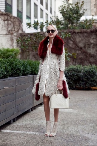 How to wear: burgundy fur scarf, white leather tote bag, grey lace ankle boots, grey lace coat