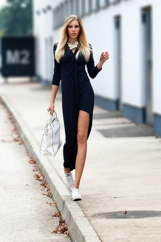How to wear: white pearl necklace, white leather tote bag, white canvas low top sneakers, navy slit velvet maxi dress