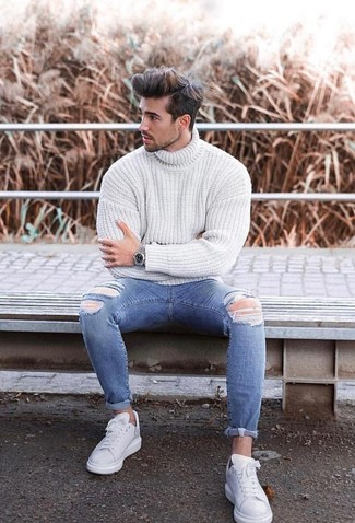 How to wear: white knit turtleneck, blue ripped skinny jeans, white leather low top sneakers, silver watch
