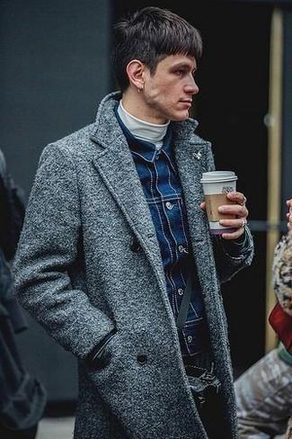 How to wear: white turtleneck, navy denim jacket, grey overcoat