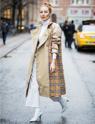 How to wear: white leather ankle boots, white denim wide leg pants, white turtleneck, tan plaid trenchcoat