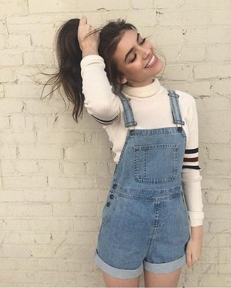 How to wear: white wool turtleneck, blue denim overall shorts
