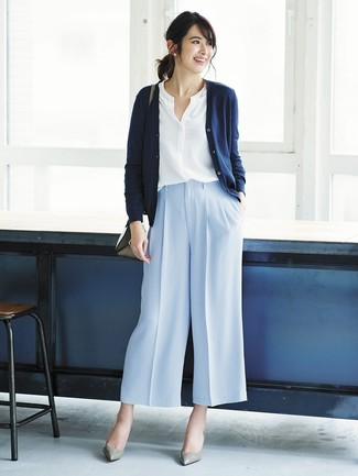 How to wear: grey leather pumps, light blue wide leg pants, white button down blouse, navy cardigan