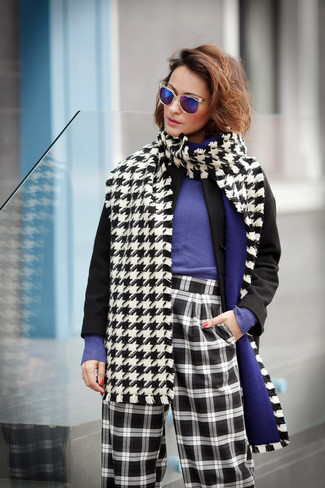 How to wear: white and black houndstooth scarf, black and white check wide leg pants, violet crew-neck sweater, black coat