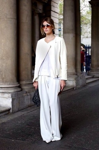 How to wear: white leather pumps, white wide leg pants, white crew-neck t-shirt, white leather biker jacket