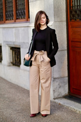 How to wear: burgundy leather pumps, tan wide leg pants, black crew-neck t-shirt, black blazer