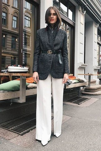 How to wear: white leather ankle boots, white wide leg pants, white crew-neck t-shirt, charcoal wool blazer