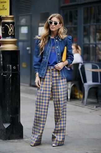 How to wear: white leather pumps, blue gingham wide leg pants, blue print crew-neck t-shirt, blue denim jacket