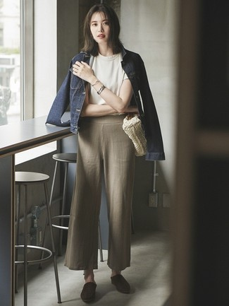 How to wear: dark brown suede mules, beige knit wide leg pants, white crew-neck t-shirt, navy denim jacket