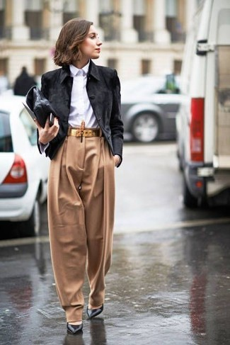 How to wear: black leather pumps, tan wide leg pants, white dress shirt, black suede biker jacket
