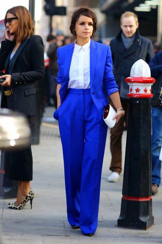 How to wear: black leather pumps, blue wide leg pants, white dress shirt, blue blazer