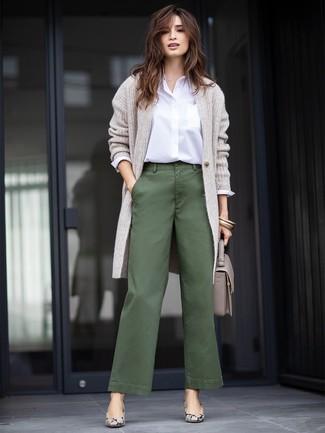 How to wear: grey snake leather pumps, dark green wide leg pants, white dress shirt, grey long cardigan
