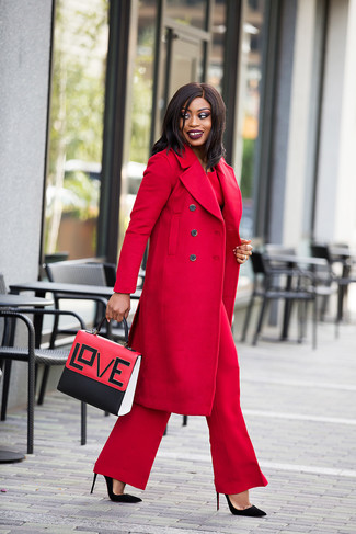 How to wear: black suede pumps, red wide leg pants, red long sleeve blouse, red coat