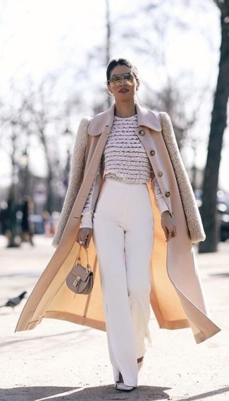 How to wear: grey studded leather pumps, white wide leg pants, beige floral lace long sleeve blouse, beige coat