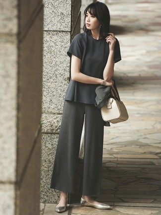 How to wear: gold leather ballerina shoes, charcoal knit wide leg pants, charcoal short sleeve blouse, charcoal blazer