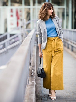 How to wear: white leather heeled sandals, mustard wide leg pants, blue short sleeve sweater, grey knit blazer