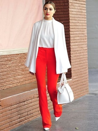 How to Wear a White Silk Sleeveless Top: This combination of a white silk sleeveless top and red wide leg pants is extremely versatile and up for whatever the day throws at you. White leather pumps will give an extra touch of class to an otherwise utilitarian outfit.