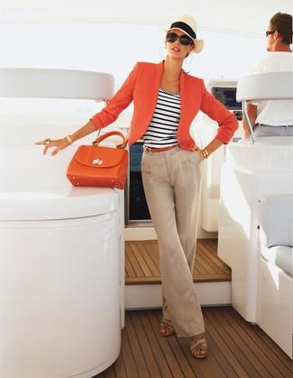 How to wear: beige leather wedge sandals, beige linen wide leg pants, white and navy horizontal striped tank, orange blazer