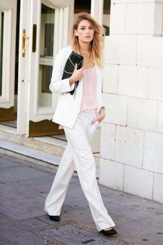 How to wear: black leather pumps, white wide leg pants, beige tank, white blazer