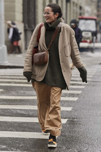 How to wear: multi colored canvas slip-on sneakers, tan wide leg pants, dark green knit turtleneck, beige wool blazer