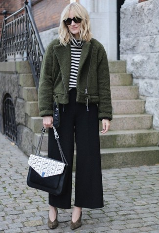 How to wear: olive suede pumps, black wide leg pants, white and black horizontal striped turtleneck, olive fleece bomber jacket