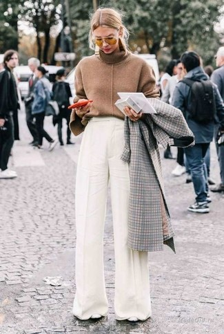 How to wear: white leather pumps, white wide leg pants, brown turtleneck, grey check coat