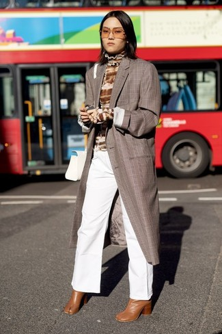 How to wear: tobacco leather ankle boots, white denim wide leg pants, brown tie-dye turtleneck, brown plaid coat