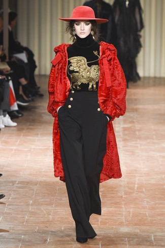 How to wear: black suede ankle boots, black wide leg pants, black embroidered velvet turtleneck, red fur coat