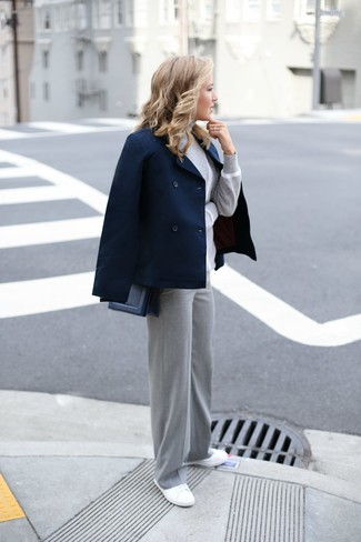 How to wear: white canvas low top sneakers, grey wide leg pants, grey turtleneck, navy pea coat