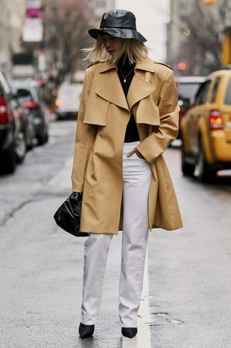 How to wear: black satin ankle boots, white wide leg pants, black turtleneck, tan trenchcoat