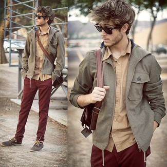 How to wear: grey windbreaker, tan long sleeve shirt, burgundy chinos, charcoal suede derby shoes