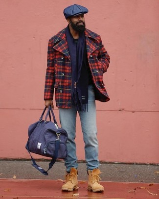 How to wear: navy canvas holdall, tan suede work boots, light blue jeans, red and navy plaid pea coat
