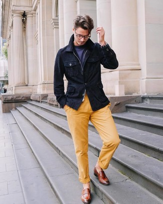 How to wear: brown leather loafers, yellow chinos, navy crew-neck t-shirt, navy suede field jacket