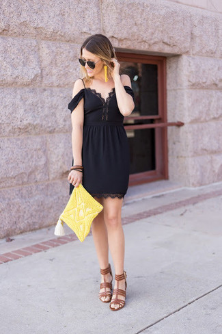 How to wear: yellow beaded earrings, yellow beaded clutch, brown leather heeled sandals, black lace off shoulder dress