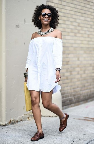 How to wear: clear necklace, yellow leather clutch, brown leather oxford shoes, white off shoulder dress