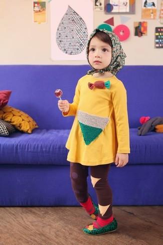 How to wear: yellow dress, brown leggings, green ballet flats, red socks