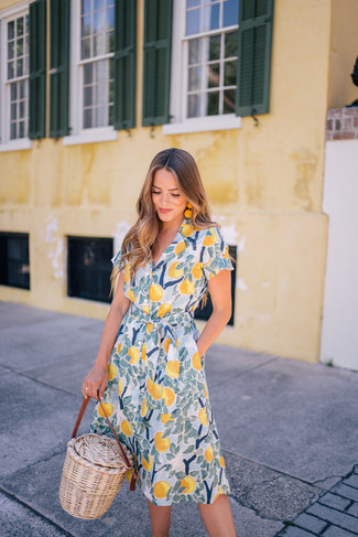 How to Wear Yellow Earrings: A yellow print shirtdress and yellow earrings are indispensable essentials if you're planning a casual wardrobe that holds to the highest style standards.