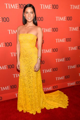 Olivia Munn wearing Yellow Lace Evening Dress, Gold Bracelet