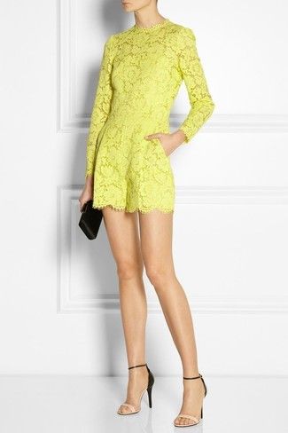 Women's Yellow Lace Playsuit, Beige Leather Heeled Sandals, Black Satin Clutch