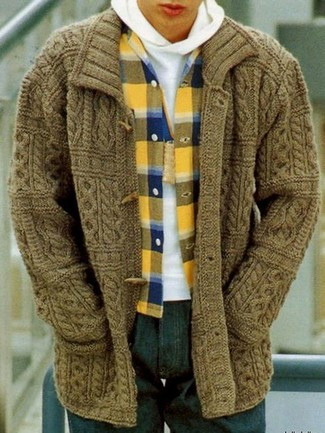 How to wear: navy jeans, yellow plaid flannel long sleeve shirt, white hoodie, olive duffle cardigan