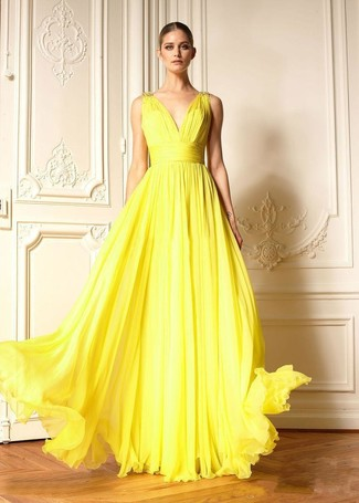 Women's Yellow Pleated Evening Dress