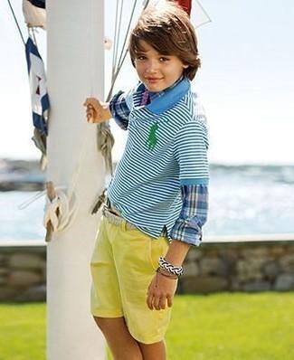 How to wear: yellow shorts, aquamarine horizontal striped polo, blue plaid long sleeve shirt