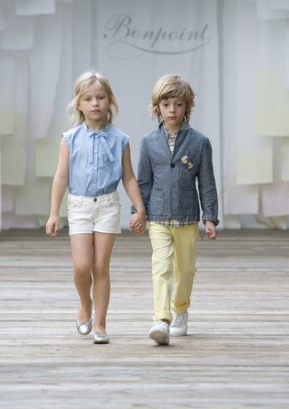 How to Wear Yellow Trousers For Boys: Teach your son to take pride in his appearance by suggesting that he team a grey blazer with yellow trousers. As for footwear your child will love white sneakers for this outfit.