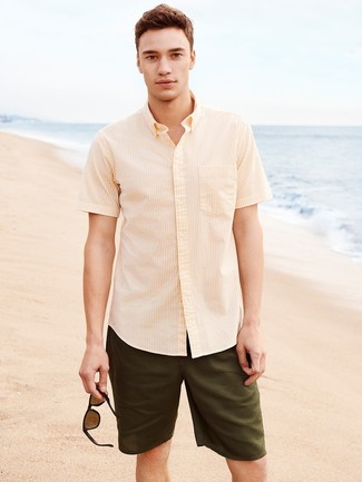 How to wear: yellow vertical striped short sleeve shirt, olive shorts