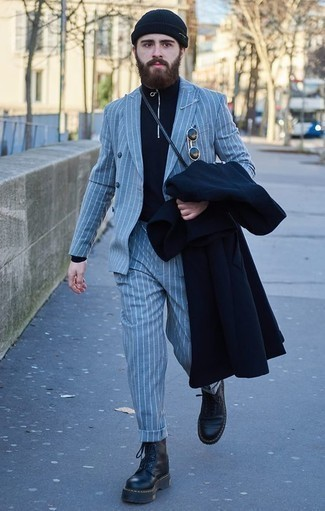 How to Wear a Navy Zip Neck Sweater For Men: For effortless sophistication with a rugged finish, pair a navy zip neck sweater with a navy overcoat. To give this outfit a more laid-back feel, why not opt for black leather work boots?