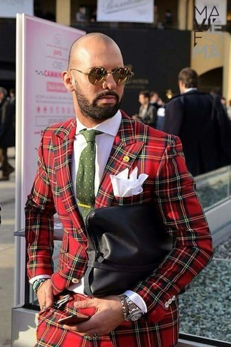 How to wear: olive print tie, black leather zip pouch, white dress shirt, red plaid suit
