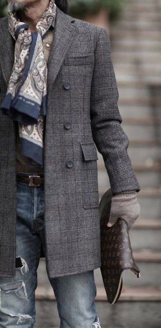How to wear: beige paisley scarf, dark brown print leather zip pouch, blue ripped skinny jeans, charcoal plaid overcoat